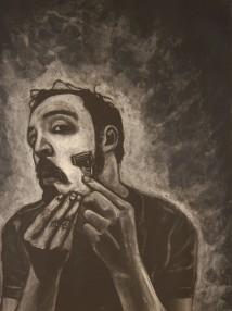 self portrait shaving